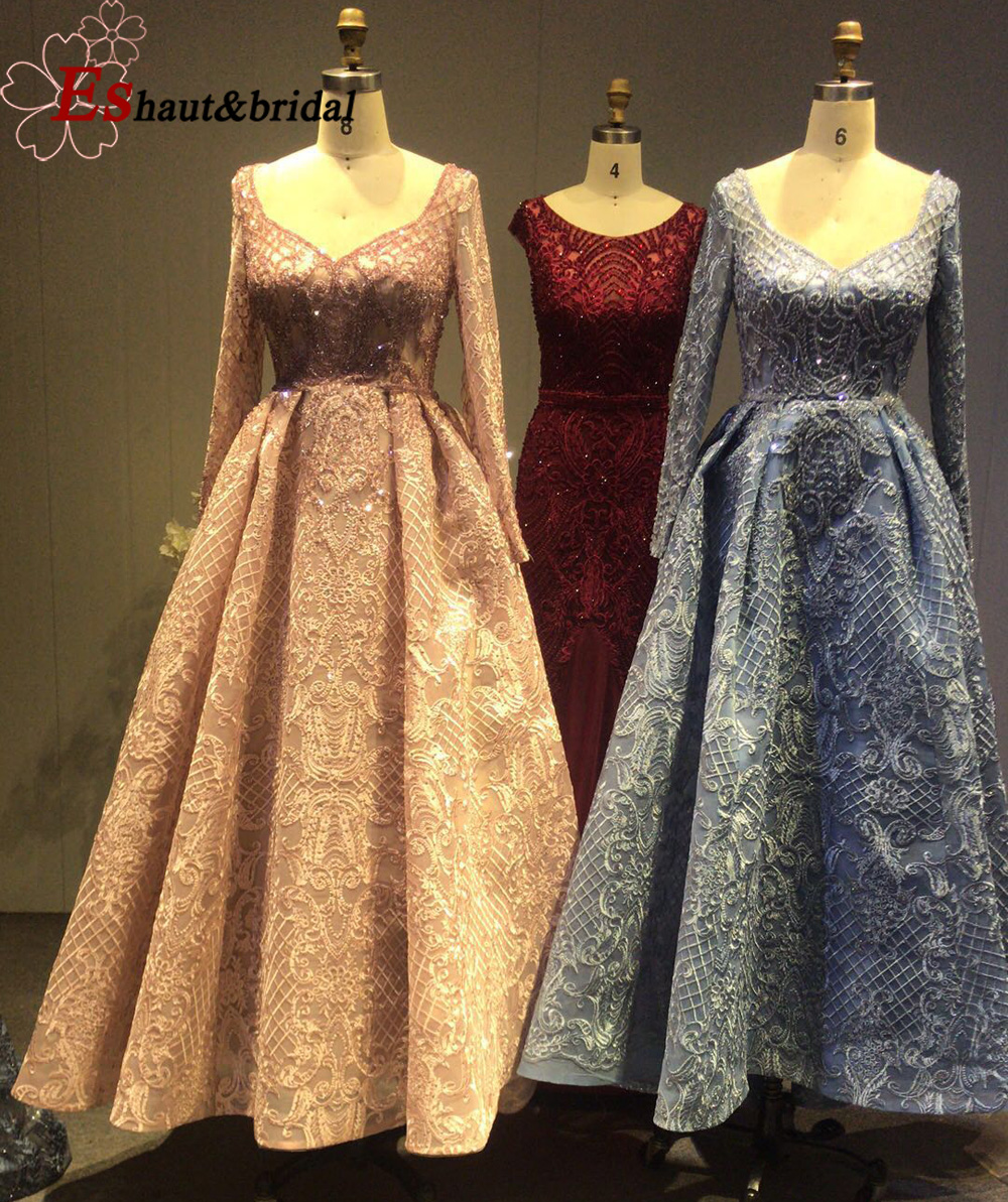 Generous Dubai Evening Dress for Women 2020 Long Sleeves Aline Luxury V-Neck Crystal Handmade Lace Arabic Prom Formal Party Gown