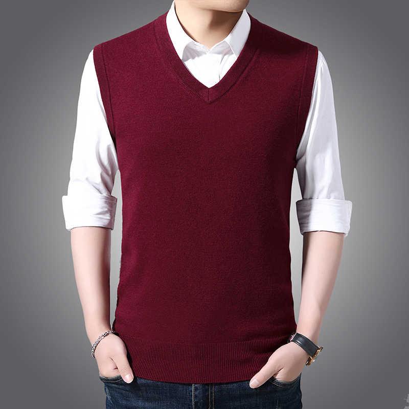 Fdfklak herren Business Pullover Frühling Herbst Ärmelloses Strick Wolle V-ausschnitt Jugend Pullover Britischen Weste Männlichen Koreanischen Pullover