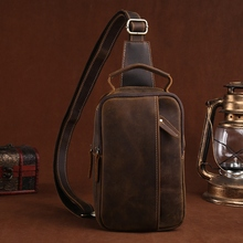 Hand-Made Crazy Horse Genuine Leather Casual Sling Chest Pack Men Crossbody Shou