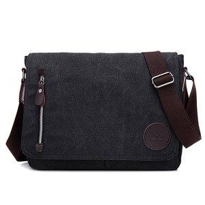Image 3 - Винтажный холщовый портфель, мужская деловая офисная сумка через плечо, повседневная Наплечная Сумка конверт, Мужская Наплечная Сумка в стиле ретро, 2019