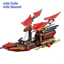 Flight Destiny Boat Bounty Goes Ship Model Building Blocks with Ninjagoed Figures Bricks Birthday Gifts Toys for Children 70738