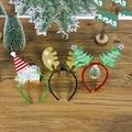 2020 Рождество Hairhoop Головка пряжки ткани с рисунком и повязка на голову в виде снежинок в виде оленьих рогов и Рождество обруч-украшение для в...