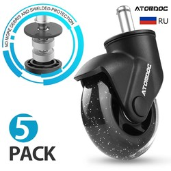 ATOMDOC 5pcs/set 3 11mm Universal Mute Office Chair Caster Wheels Replacement Casters Rubber Soft Safe Roller Furniture Wheel