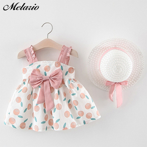 Melario Baby Girls Clothing 2020 Baby Girl Clothes Set Outfit Baby Boho Style Summer Beach Outfit Clothe Tops + Pants + Hat(China)
