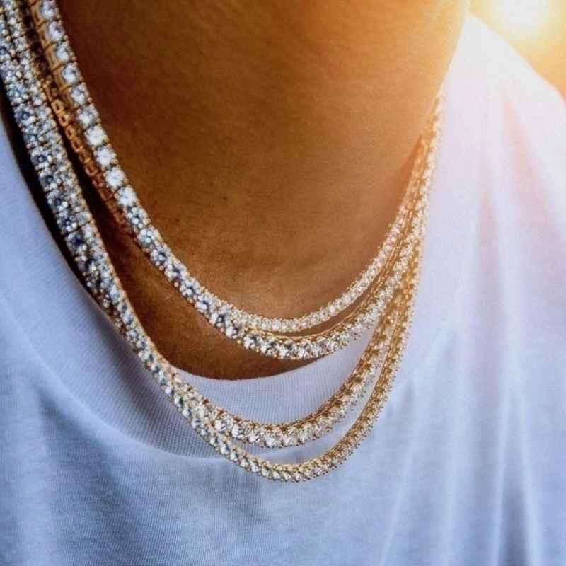 Ghiacciato Da Tennis Degli Uomini Chain Della Collana Robusta Zircone Cubico Miami Cuban Link ChainJewelry