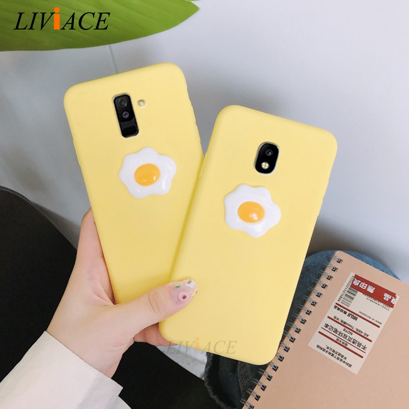 funny 3D egg silicone phone case for samsung galaxy j6 j8 j4 a8 a6 plus j5 j7 pro prime 2017 2018 2016 2015 cute soft back cover image