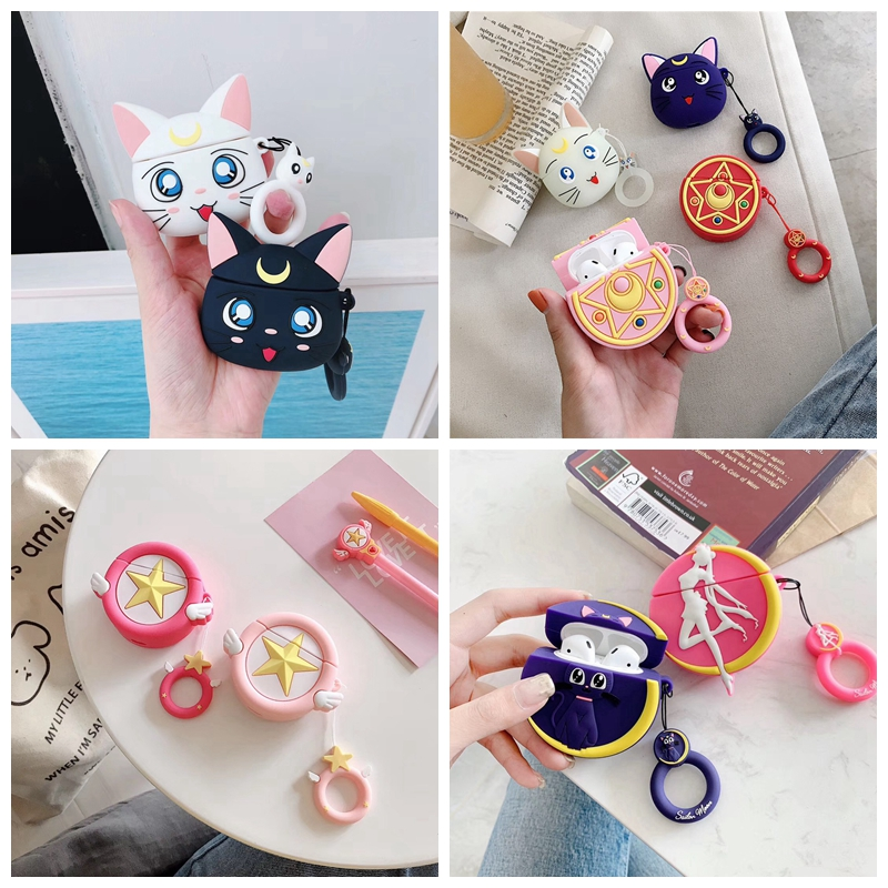For AirPods Case Cute Kawaii Sailor Moon Luna Cat Earphone Cases For Apple Airpods 2 Protect Cover With Finger Ring Strap