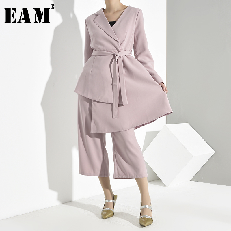 [EAM] Wide Leg Pants Asymmetrical Two Piece Suit New Lapel Long Sleeve Loose Fit Women Fashion Tide Spring Autumn 2020 YG621
