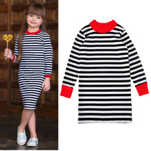 Autumn Girls A Line Dresses Cute Long Sleeve Striped Kids Clothing Party Cotton Thick Baby Casual Dress For Children Costume