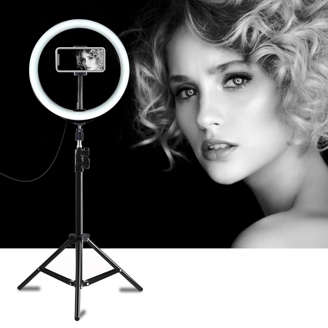 PULUZ Photography LED Selfie Ring Light 10inch Dimmable Camera Phone Ring Lamp With Stand Tripods For Makeup Video Live Studio