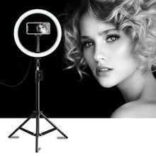 PULUZ fotografia LED Selfie lampa pierścieniowa 10 cal możliwość przyciemniania aparat telefon lampa pierścieniowa z statyw do wideo do makijażu Studio Live