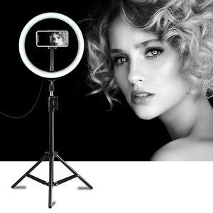 Image 1 - PULUZ photographie LED Selfie anneau lumière 10 pouces Dimmable caméra téléphone anneau lampe avec support trépieds pour maquillage vidéo Studio en direct