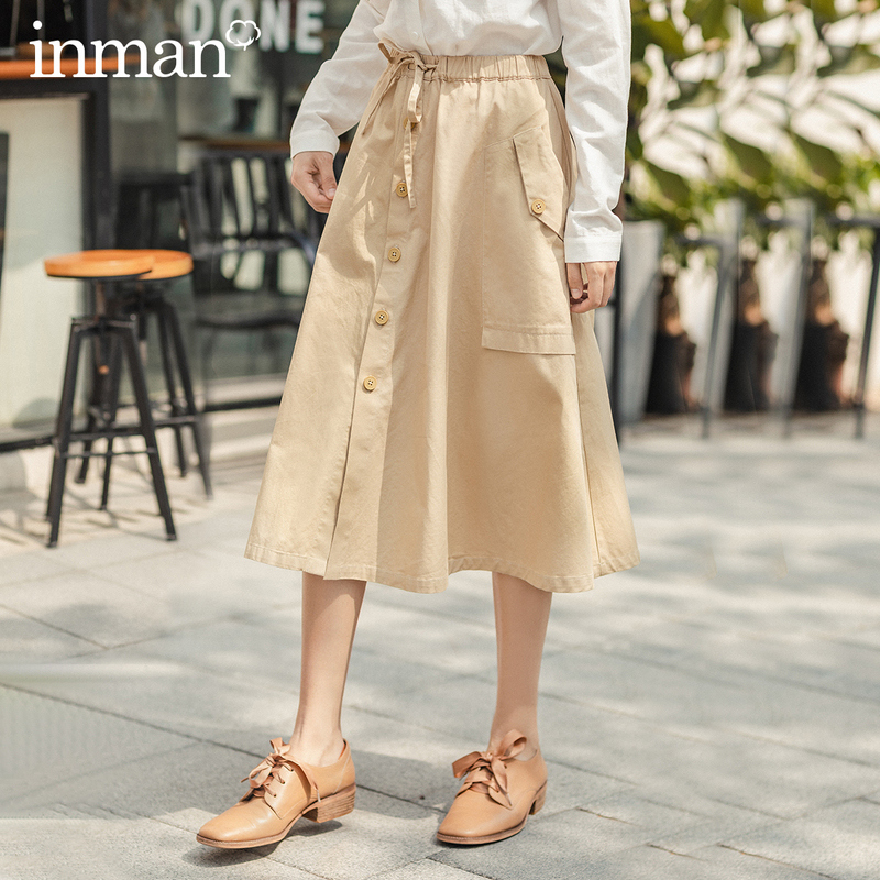 INMAN A Line Skirt 2020 Spring New Arrival Vintage Retro Pure Cotton Shaped Single Button Mid Calf Length Skirt