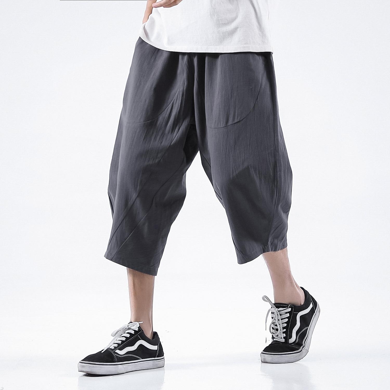 Flax Capri Pants Men's Summer Cotton Linen Wide-Leg Casual Pants Loose Capri Pants Large Size Shorts Comfortable Cotton-padded T