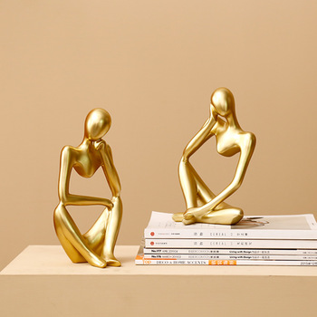 Nordic Abstract Character Golden Decoration Creative Home Ornament Drawing Room Office Sandstone Decor gift statue Sculpture 1