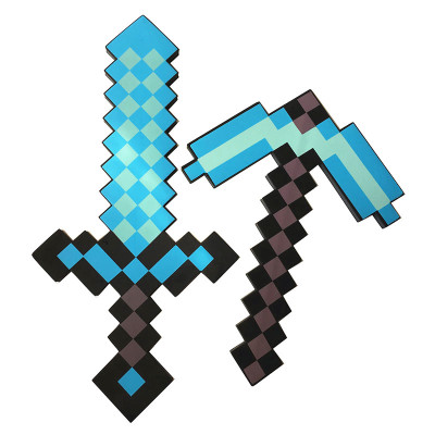 Newest Design Size 45cm Minecrafted Blue Diamond Sword Soft EVA Foam Toys Sword Gray Pickaxe For Children  Children Toys