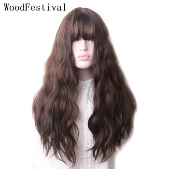 WoodFestival Long Hair Curly Synthetic Wig with Bangs Mix color Grey Purple Black Brown Heat Resistant Cosplay Wigs for Women woodfestival 20inch women wigs hair heat resistant black to navy blue curly synthetic wig cosplay