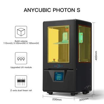 ANYCUBIC Photon-S 3D Printer Upgraded Black With 500ML/2pcs Fep LCD SLA PhotonS Module Matrix Dual Z axis Printer Kit 3d Drucker 2