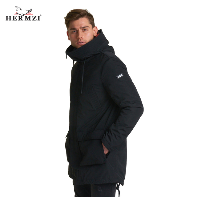 HERMZI 2020 New Spring Men Coat Hooded Long Jacket Autumn Thin Padded Coat Black Men Coats Parka Men High Quality Fashion Jacket