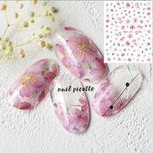 HANYI-395 mais novo japão sakura rosa flor primavera projetos flor 3d arte do prego adesivos decalque modelo diy ferramenta de unhas decorações