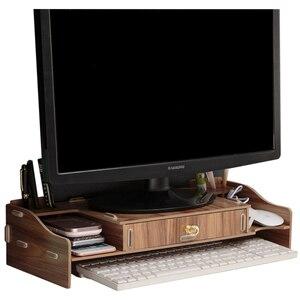 Wielofunkcyjny Monitor biurkowy stojak ekran komputera Riser drewniana półka cokół mocna podstawka do laptopa uchwyt biurkowy do notebooka TV