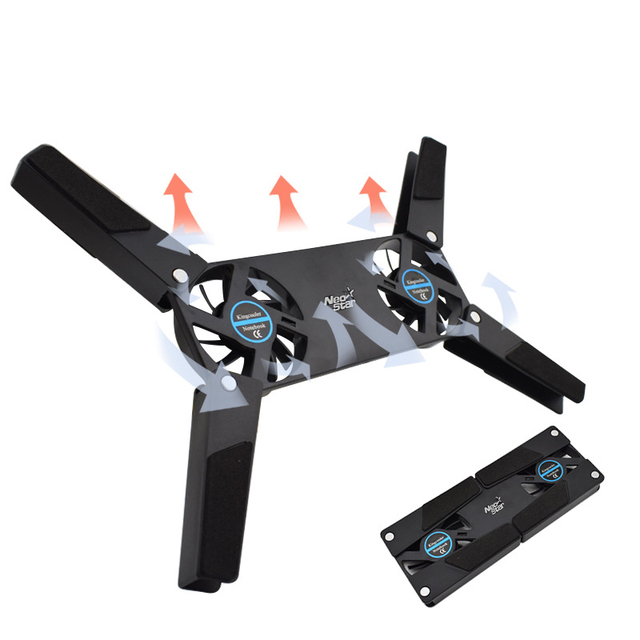 Portable Adjustable Stand Foldable USB Rack Holder Laptop Desk Support Dual Cooling Fan for iPad MacBook Function Tablet