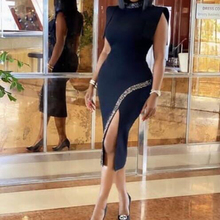 Split-Dresses Clothing Office MD Sexy Bodycon Evening Autumn African Plus-Size Fashion