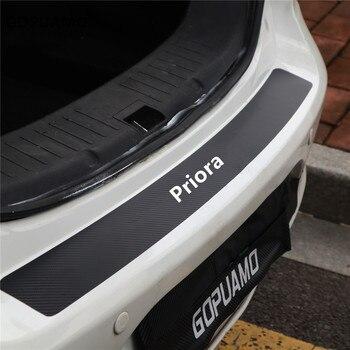 for-lada-priora-auto-rear-bumper-stickers-carbon-fiber-protector-car-trunk-guard-plate-film-auto-sill-pedals-cover-accessories