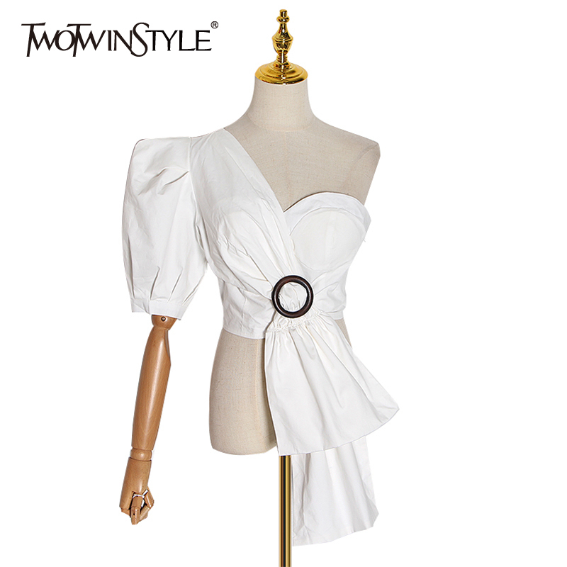 TWOTWINSTYLE Casual Irregular Shirts For Female Asymmetrical Collar Sleeveless Tunic Women's Blouses 2020 Fashion Clothing Tide