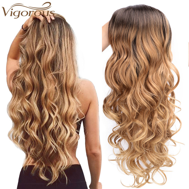 Vigorous Long Ombre Brown Blonde Wavy Wig Natural Hair Part Synthetic Wigs for Women Glueless Cosplay Heat Resistant Party Wig 1