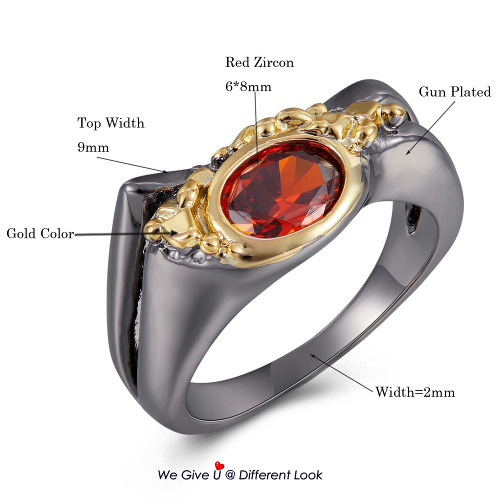 WA11788 DreamCarnival New Arrive Geometric Red Cubic Zircon Ring for Women Black-Gold Color Wedding Engagement Party Accessories (10)