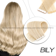 Bily Straight Mini Tape In Human Extensions Skin Weft Adhesive Double Side Tape Hair Invisible Blonde Brown Color 20pcs 10