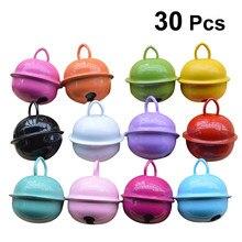 30 pçs 22mm colorido pintado jingle bell metal redondo mini sinos ornamentos decoração pingentes para o natal diy artesanato cor aleatória