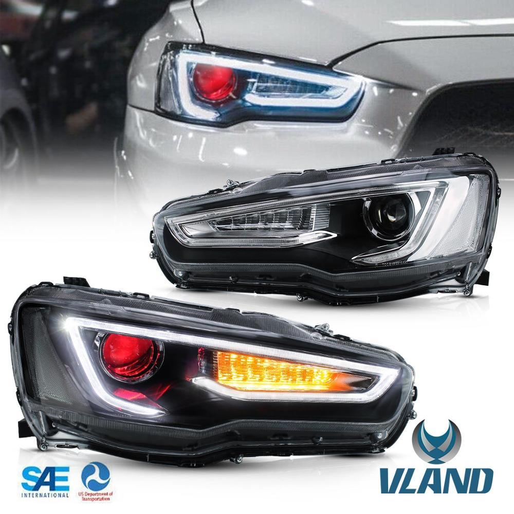 VLAND Car Headlight For Mitsubishi For Lancer Evolution 2008 2010 2012 2013 2015 2016 LED Head Lamp Bi-Xenon Lens Headlights