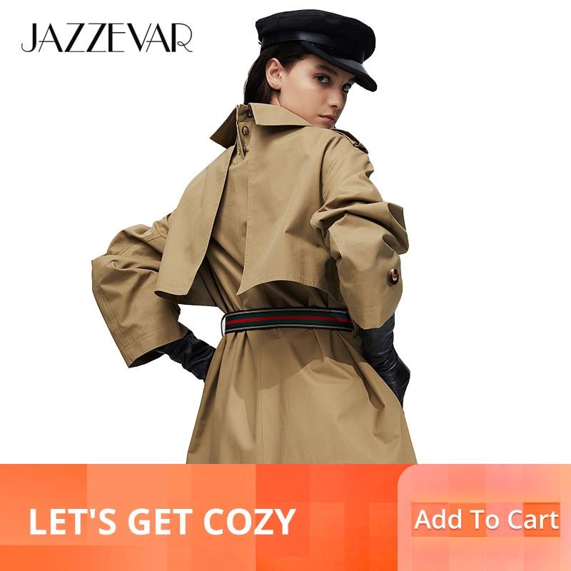 Jazzevar 2019 새로운 도착 가을 카키 트렌치 코트 여성 패션 스타일 x 긴 코튼 느슨한 의류 벨트 여성 의류 9015-에서트렌치부터 여성 의류 의  그룹 1