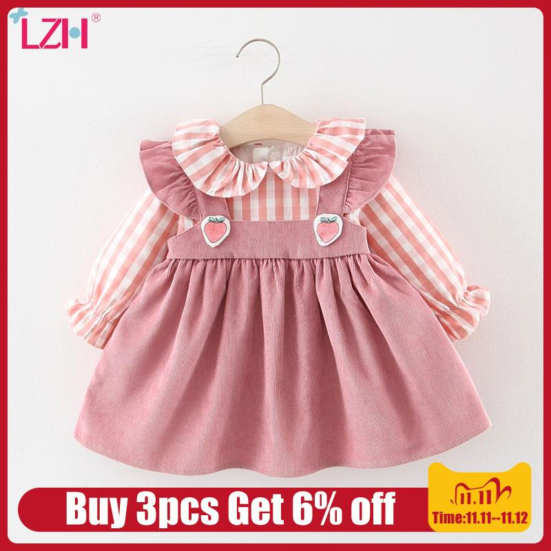 Lzh 2020 novo outono vestidos de lazer para o bebê meninas manga longa infantil vestido de festa crianças vestido de aniversário recém-nascido 0 1 2 3 ano