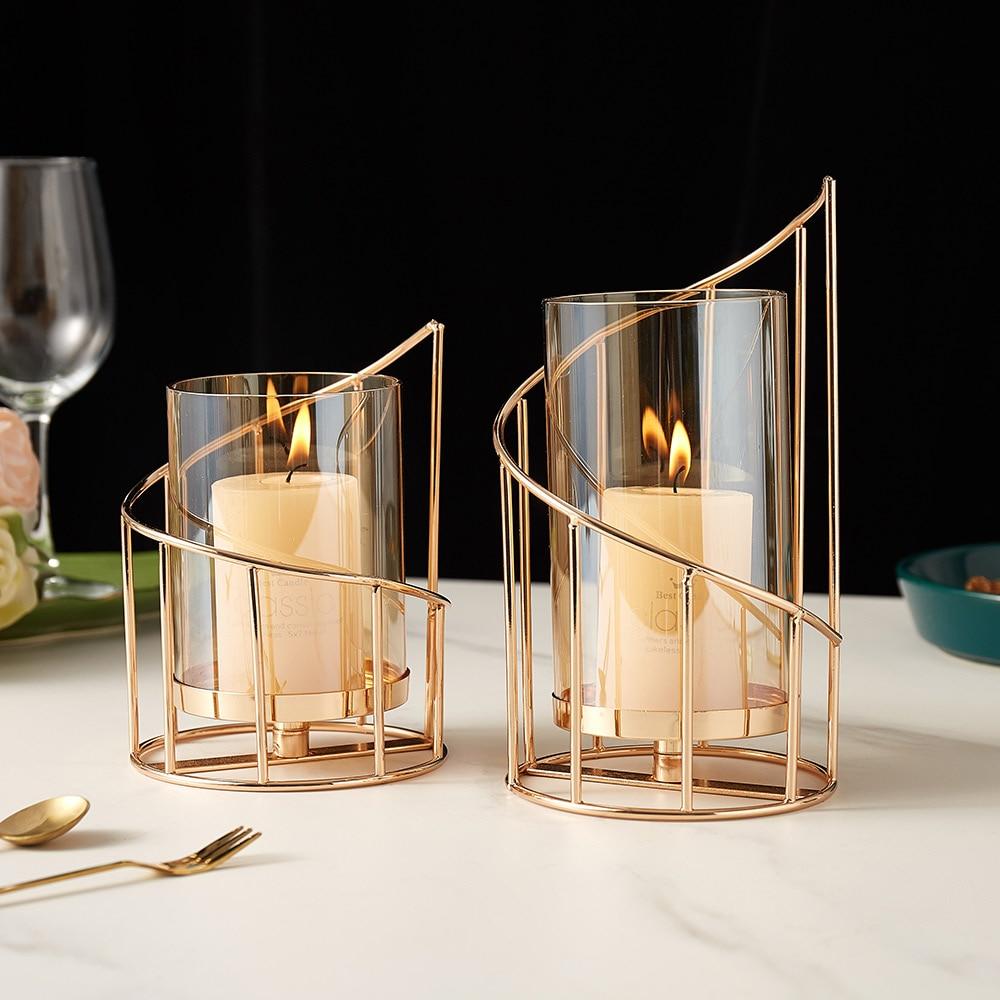 Golden Metal Candle Holder Multifunctional Glass Vase Glass Candle Holder  2