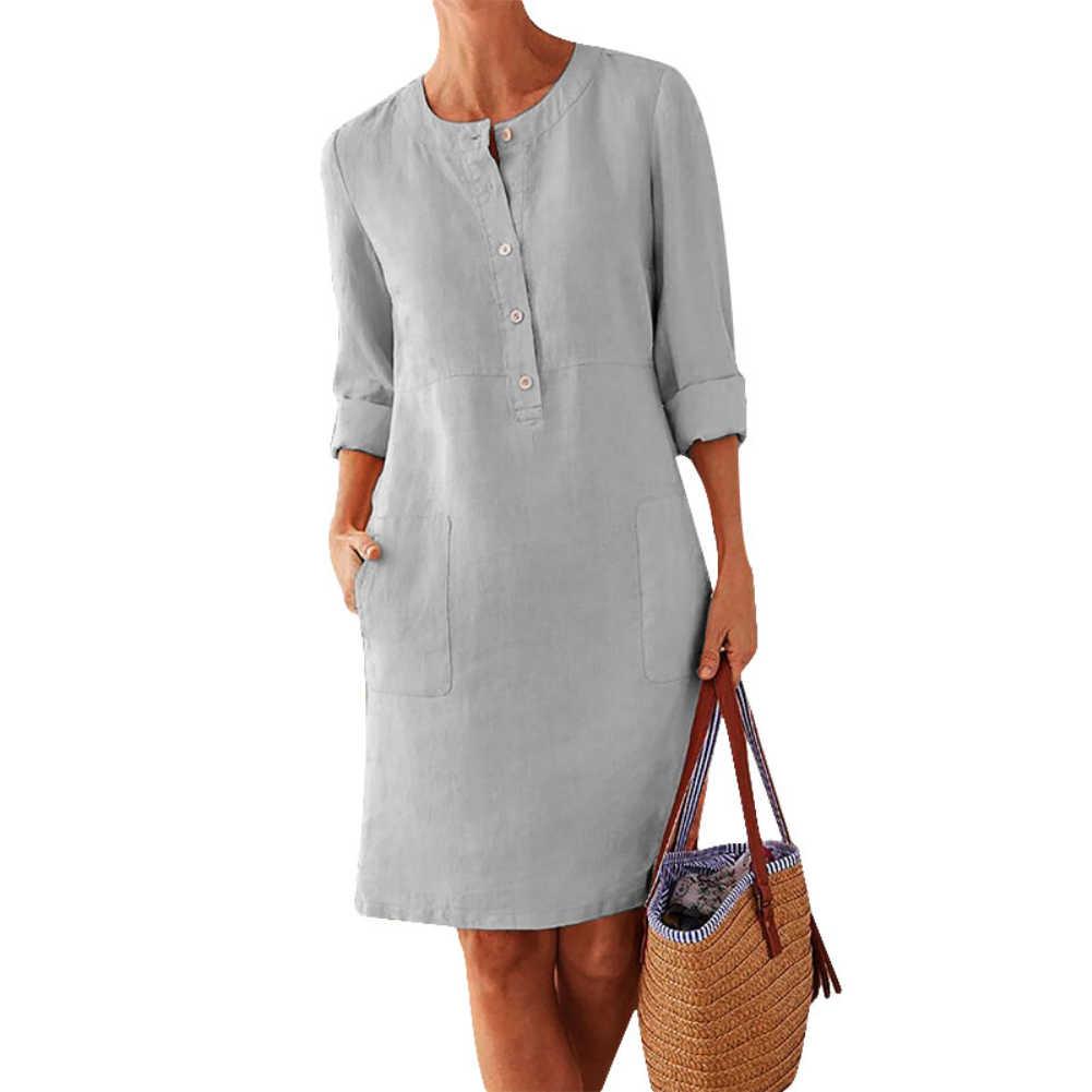 플러스 사이즈 캐주얼 솔리드 컬러 코튼 린넨 여성 긴 소매 튜닉 카프 탄 드레스 여성 라운드 넥 미디 싱글 브레스트 comfortab