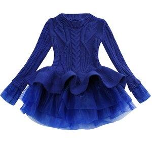 Image 5 - תינוק חם ילדה סרוג שיפון שמלת חג המולד מסיבת חתונת מיני טוטו שמלות חורף ילדי בנות סוודר ילדי בגדי שמלה