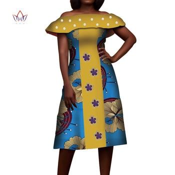 2020 New African Bazin Dress Dashiki Africa Print Short Dresses For Women Slash Neck Bazin Riche Ladies Clothes Plus Size WY3896