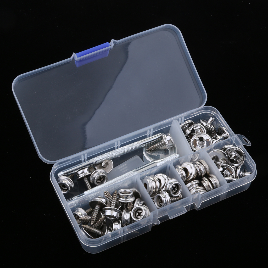 63Pcs Boat Marine Yacht Canvas Snap Cover Button + Socket Fastener 15mm Studs Screw Set