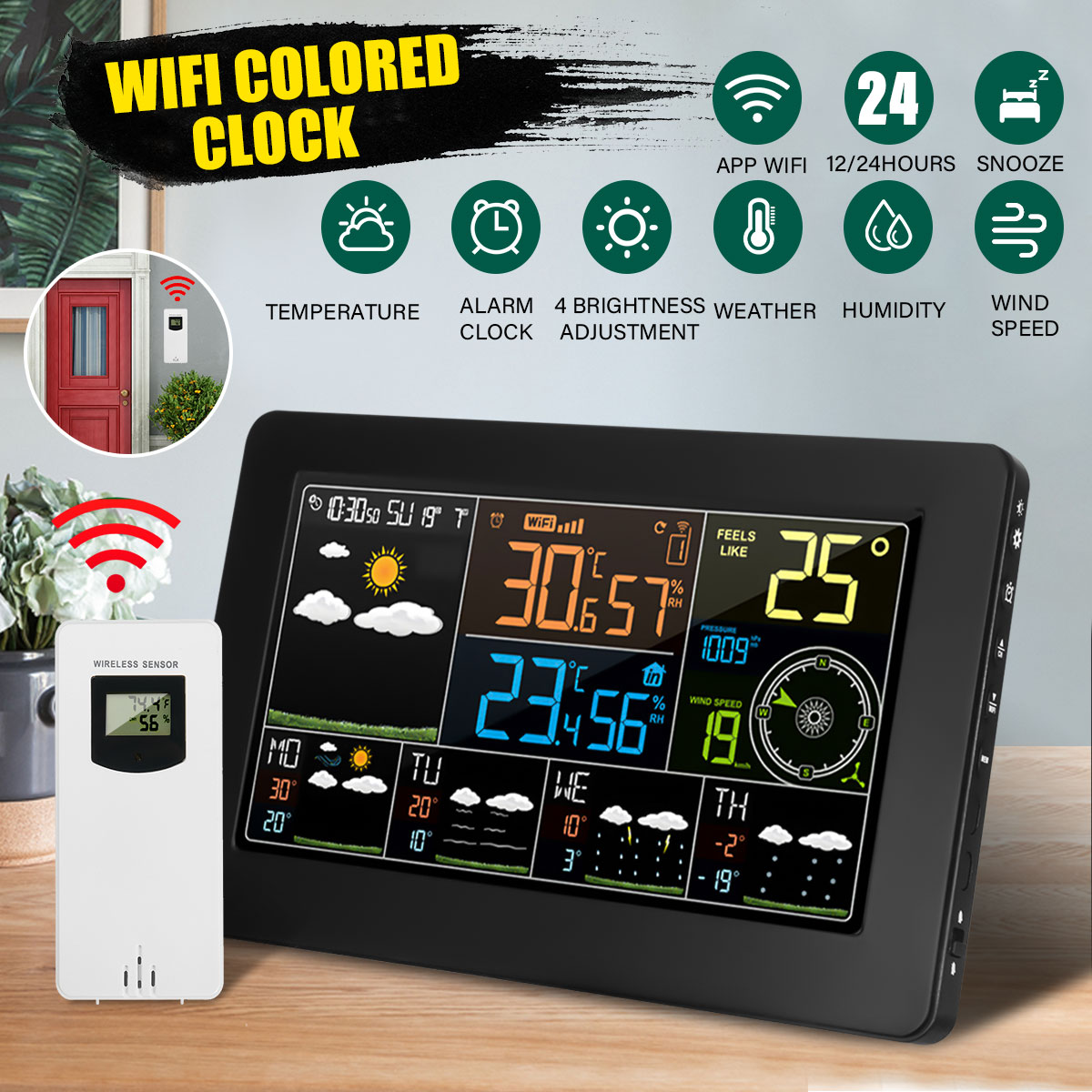 LED Wifi App Weather Station Alarm Clock Thermometer Barometer Wireless Sensor 4 Levels Backlight Wind Frost Warning Function image