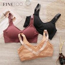 FINETOO seksi Bralette kadınlar için 6 renkler kablosuz sutyen Backless derin V seksi Bras konfor pamuklu iç çamaşırı dikişsiz yastıklı Bralette