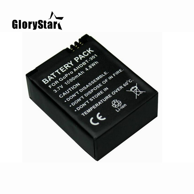 1600mah For Gopro Ahdbt 201/301 Camera Battery For Gopro Hero 3 3+ Ahdbt 301, Ahdbt201 Ahdbt301 Battery For Go Pro Accessories