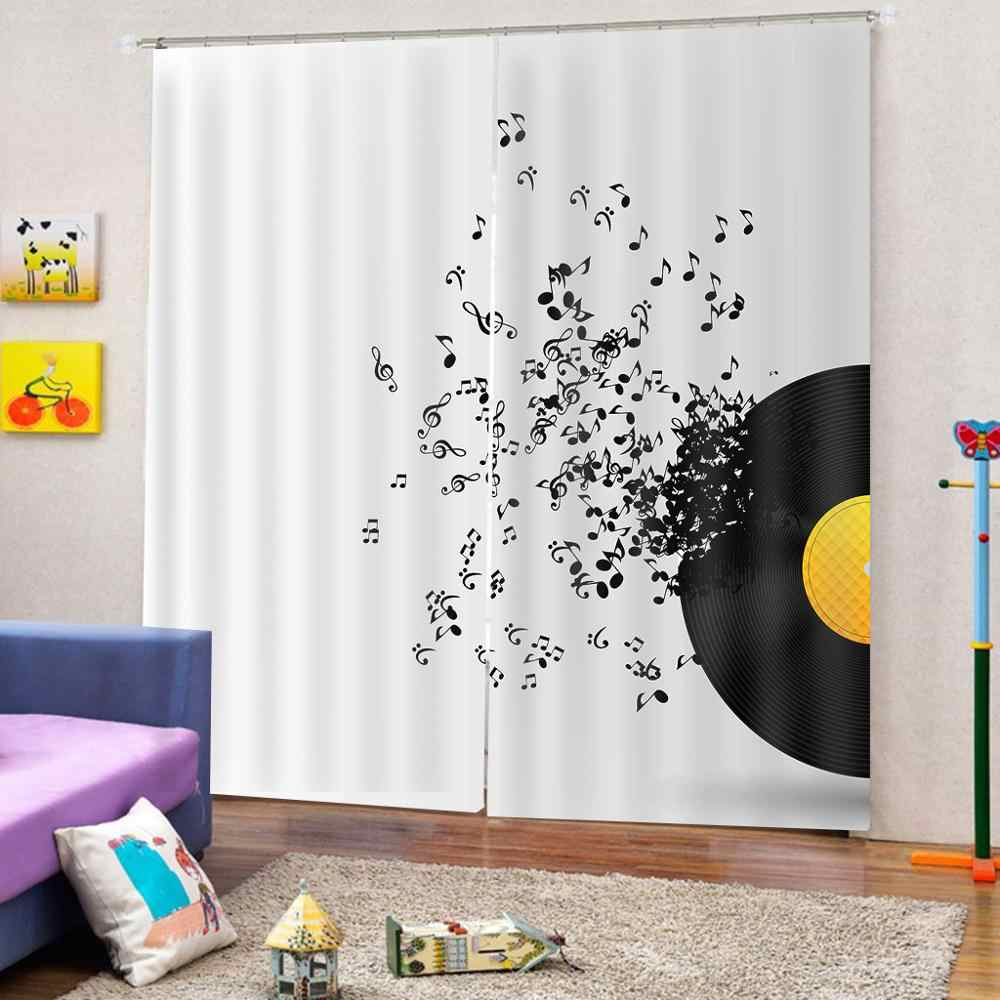 Custom size Music Decor Curtains Music Vinyl Disc Curtains For Simple  Living Room Bedroom Brapes Decor