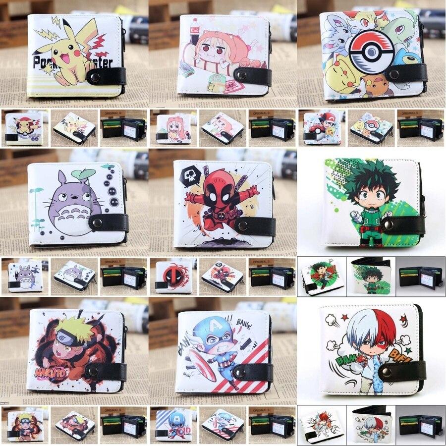 Anime My Hero Academia PU Wallet Totoro Naruto Deadpool Boys Girls Cartoon Button Coin Pocket Short Card Holder Leather Purses