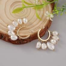 Женские серьги кольца ручной работы с белым/черным жемчугом