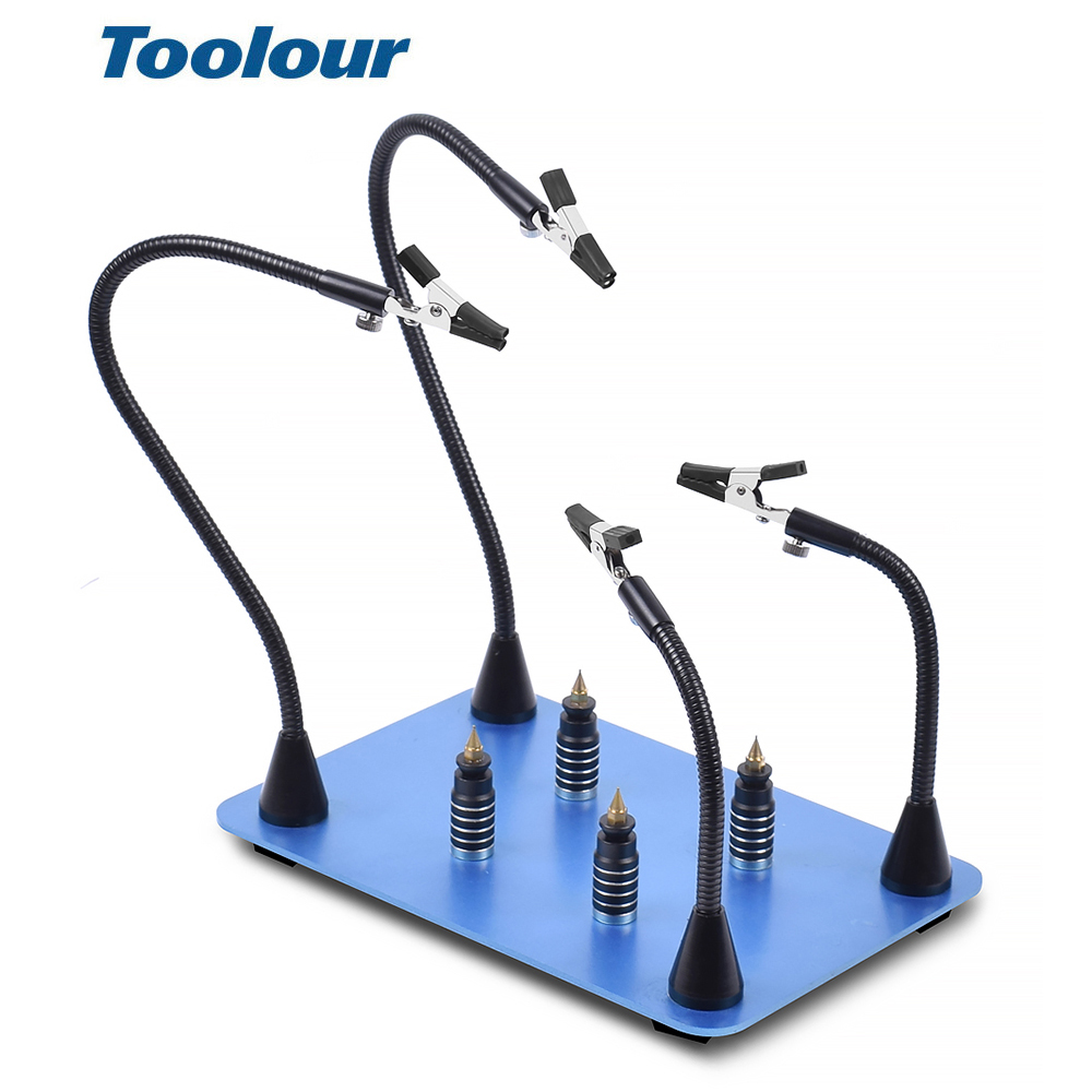 Toolour Soldering Third Hand Magnetic PCB Board Fixed Clip 4pcs Flexible Arms Crocodile Clip Welding Station Repairing Tool
