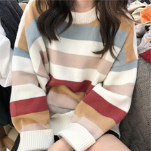купить Women Rainbow Striped Crew Neck Pullovers Korean Harajuku Knit Jumpers 2019 Winter Clothing Autumn Christmas Sweater по цене 1050.57 рублей