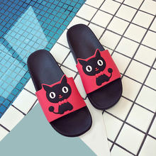 Women Summer Cute Cat Slippers Cartoon Pig Slides Ladies Outside Flat Platform Casual Soft Women's Comfortable Shoes 2020 New(China)